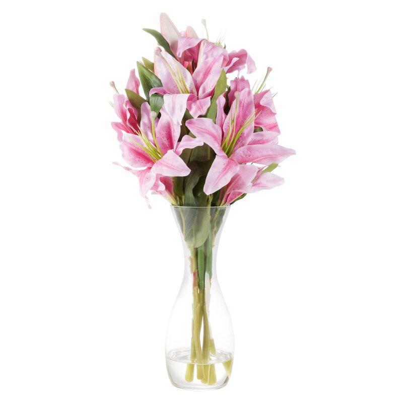 House of H&ton Tall Lily Floral Arrangement in Glass Vase \u0026 Reviews | Wayfair  sc 1 st  Wayfair & House of Hampton Tall Lily Floral Arrangement in Glass Vase ...