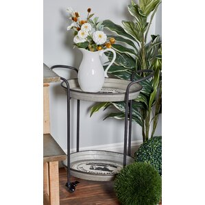 Englewood Farmhouse Iron 2-Tier Round Bar Cart w..