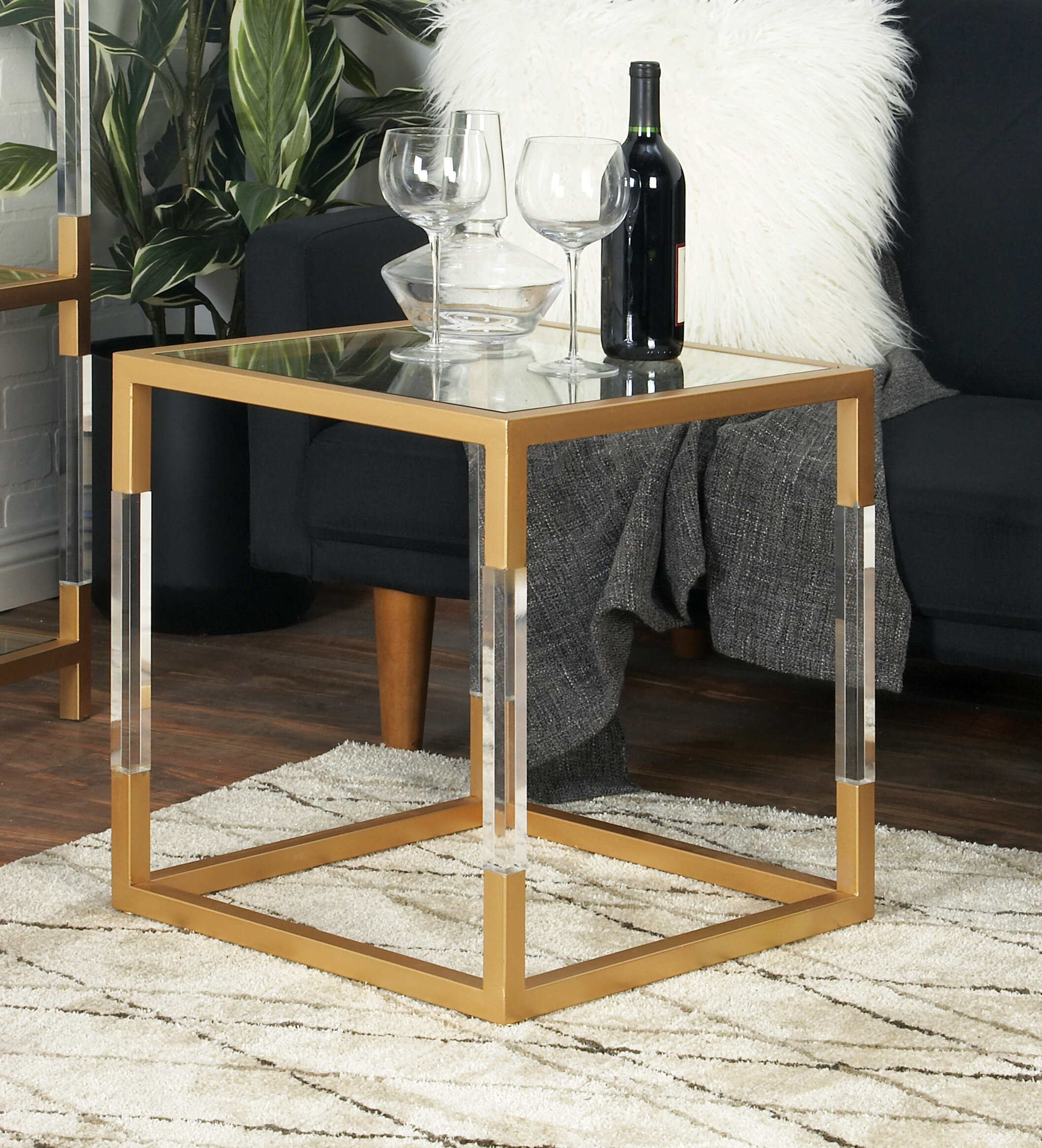 Cole Grey Metal Glass And Acrylic End Table Reviews Wayfair