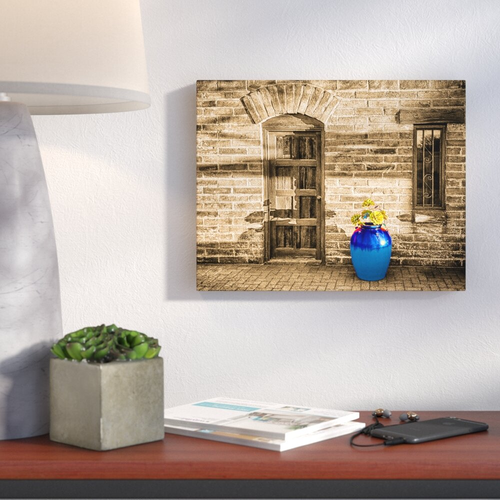 Bronx Blue Bedroom Project: Ivy Bronx 'Blue Pot And Wall' Graphic Art Print On Canvas