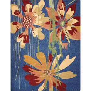 Vanetta Hand-Hooked Blue/Brown Indoor/Outdoor Area Rug