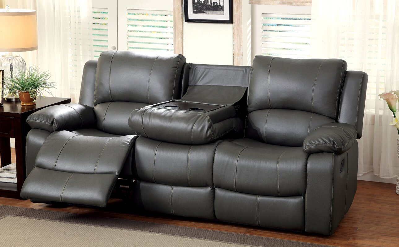 Darby Home Co Wellersburg Leather Reclining Sofa Reviews Wayfair