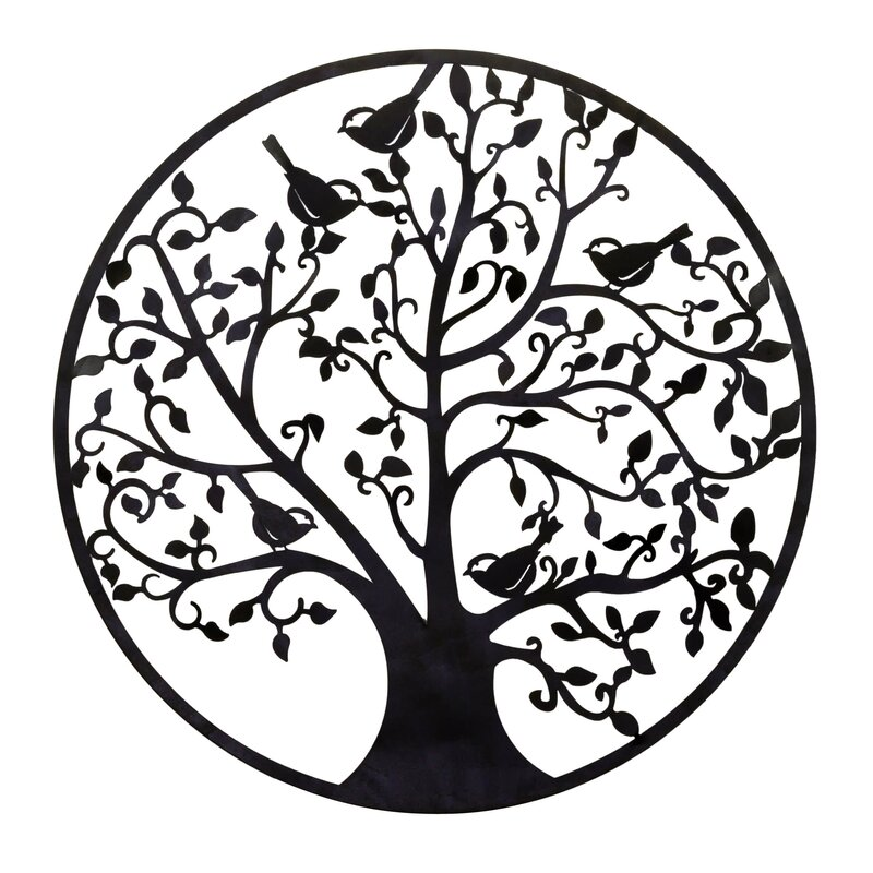 Round Metal Tree Branches And Birds Wall Décor