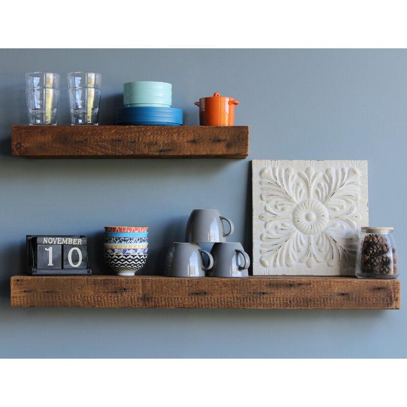 Peachy Corda Reclaimed Barn Wood Floating 2 Piece Wall Shelf Set Download Free Architecture Designs Rallybritishbridgeorg
