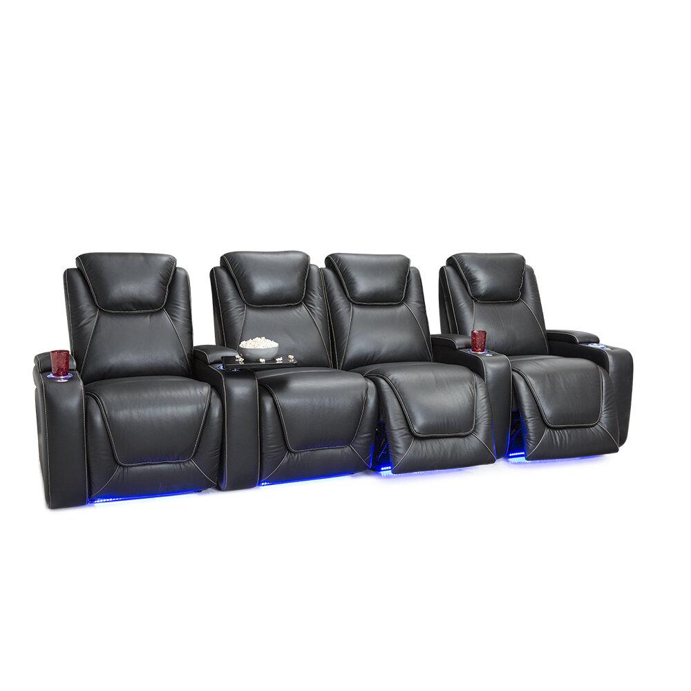 Latitude Run Leather Home Theater Row Seating Row Of 4