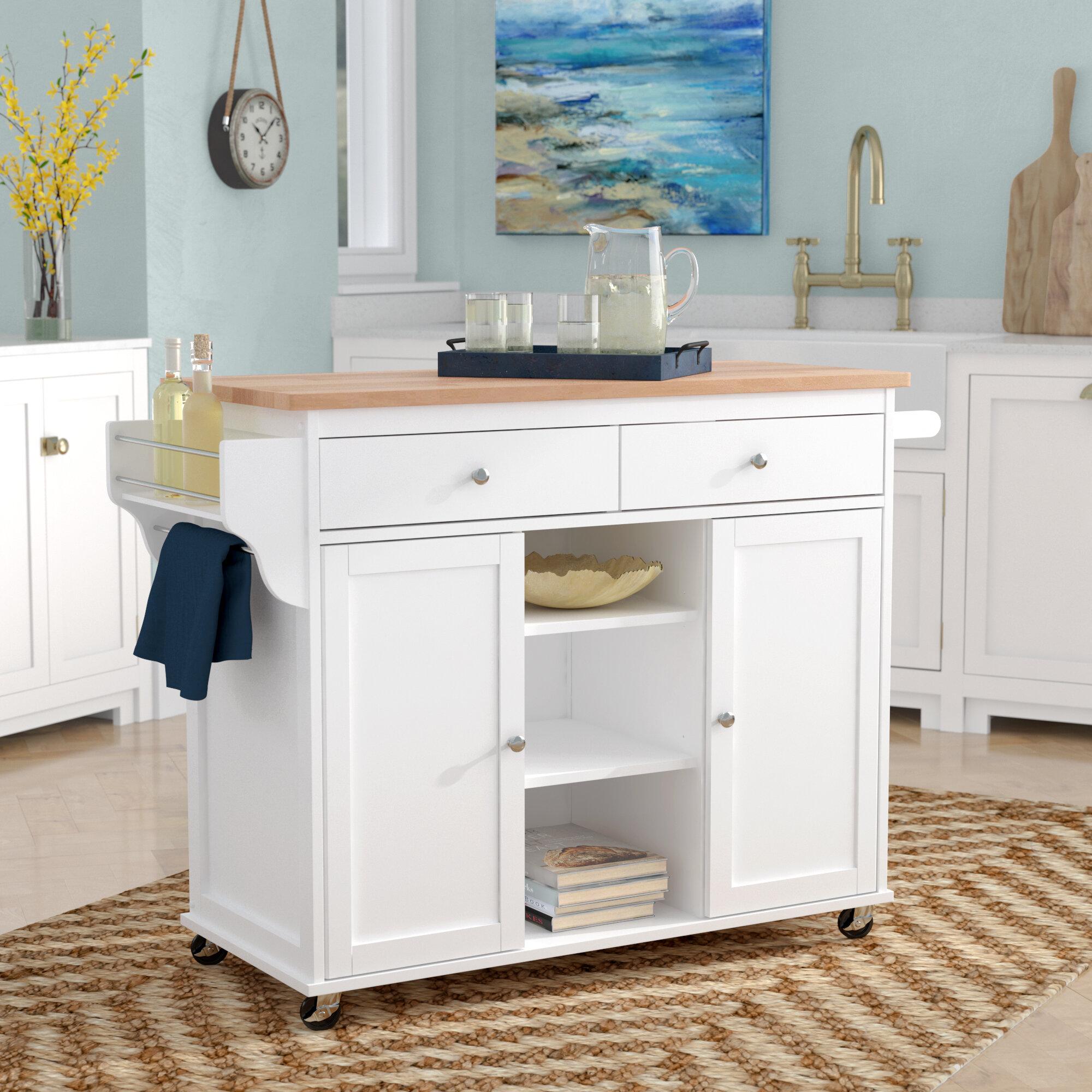 Beachcrest home wilson modern kitchen island with wood top reviews wayfair