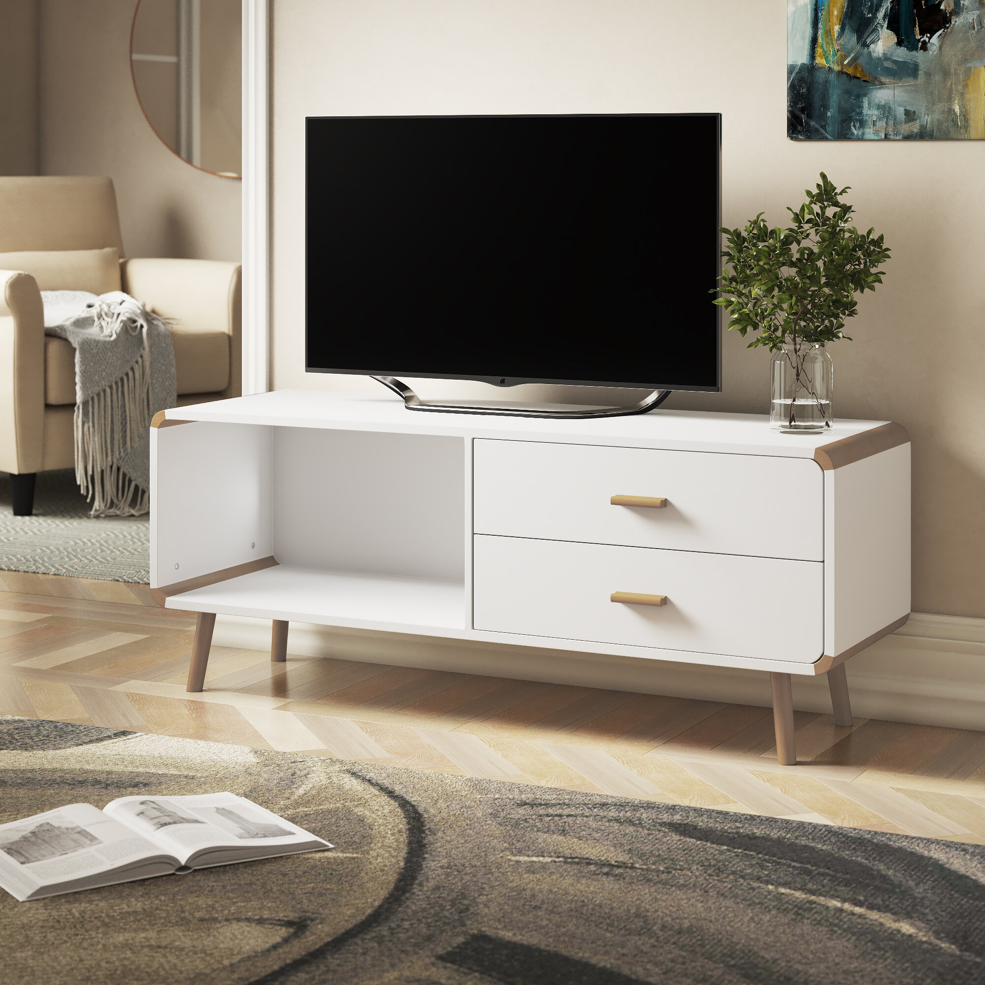 Long Storage Drawers TV Stand