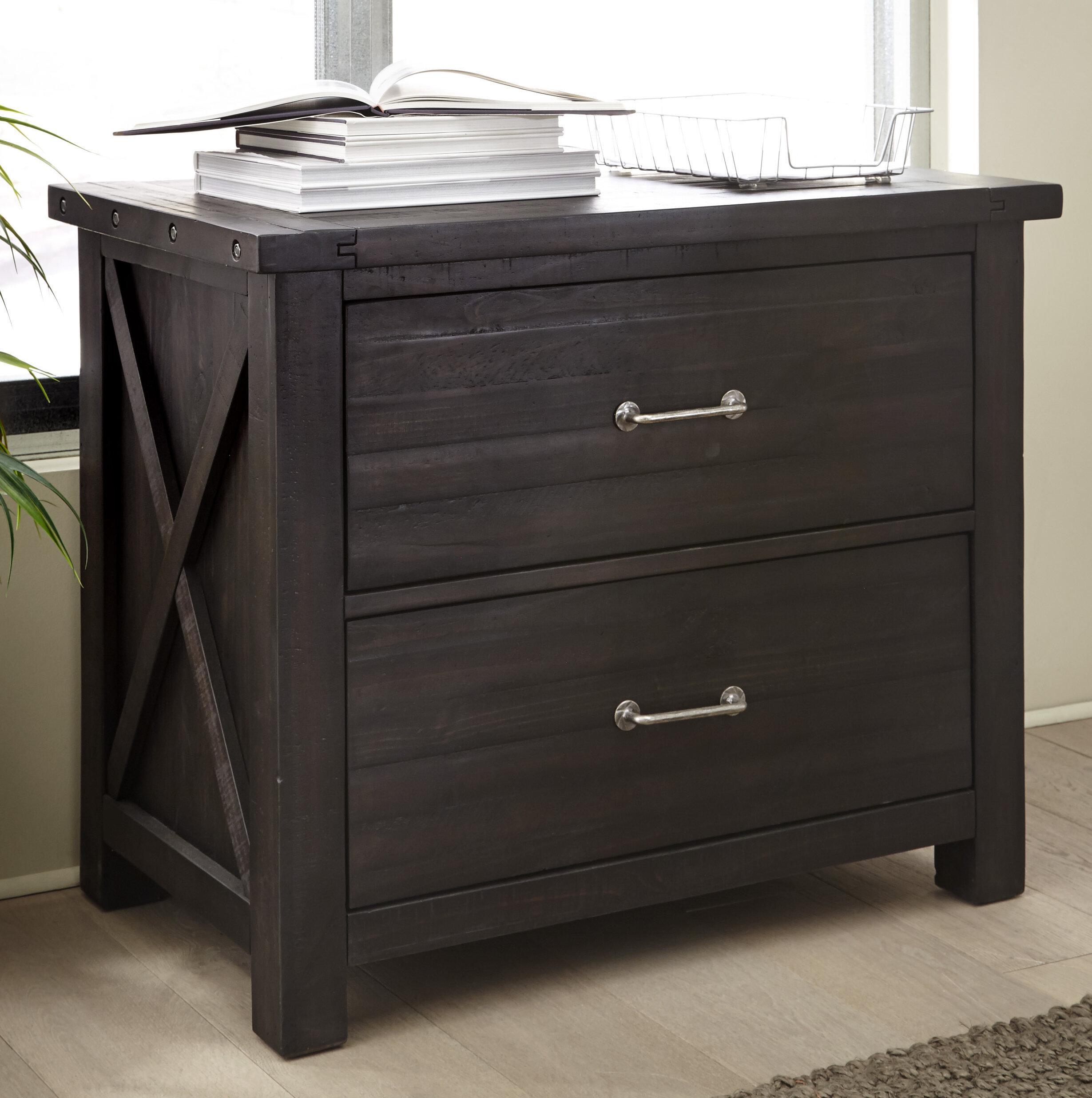 Laurel Foundry Modern Farmhouse Langsa Solid Wood 2 Drawer Lateral Filing Cabinet Wayfair