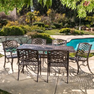 burkhardt cast aluminum 7 piece outdoor dining set - Cast Aluminum Patio Furniture