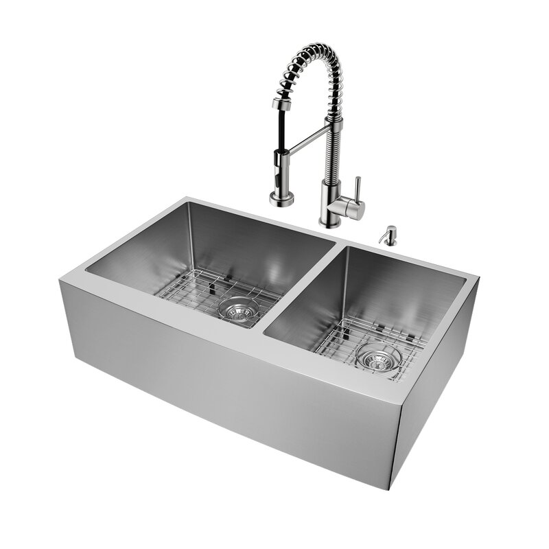 """36"""" x 22"""" Double Basin Farmhouse Kitchen Sink with Faucet, Grid, Strainer and Soap Dispenser"""