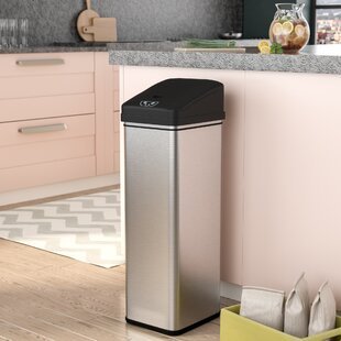 Superieur Ealy Stainless Plastic 13 Gallon Motion Sensor Trash Can