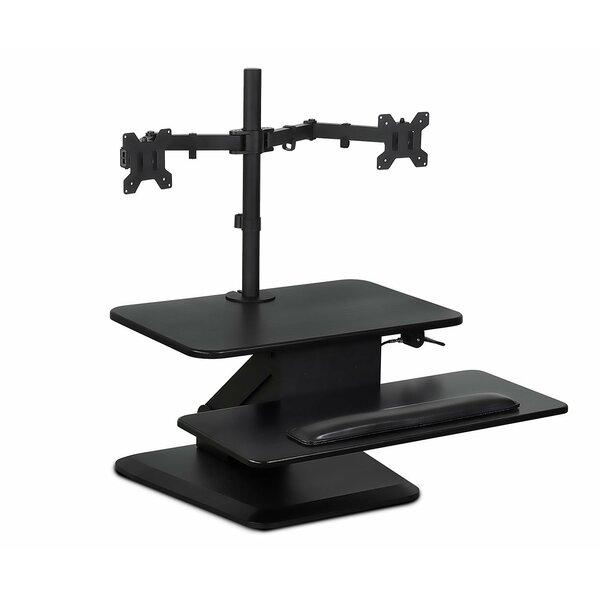 Latitude Run Degraw Sit Workstation Height Adjustable Converter Standing  Desk With Dual Monitor Mount Combo | Wayfair