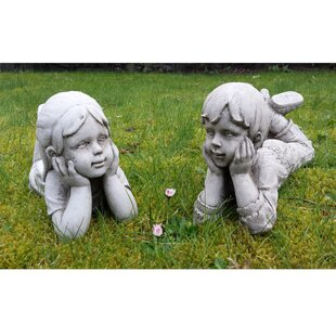 2 Piece Lying Boy And Girl Stone Garden Statue Set