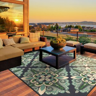 Kailani Contemporary Blue Green Indoor Outdoor Area Rug