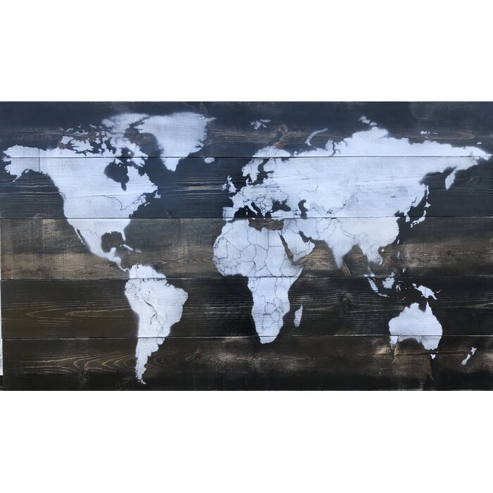 Stories Vintage World Map Painting On Wood Wayfairca - Vintage world map on wood