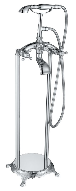 ANZZI Tugela Triple Handle Floor Mounted Clawfoot Tub Faucet with ...