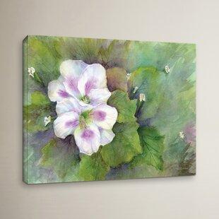Purple flower painting wayfair white purple flowers painting print on wrapped canvas mightylinksfo