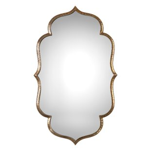 f33a65a3acac Traditional Lightly Antiqued Metallic Gold Wall Mirror