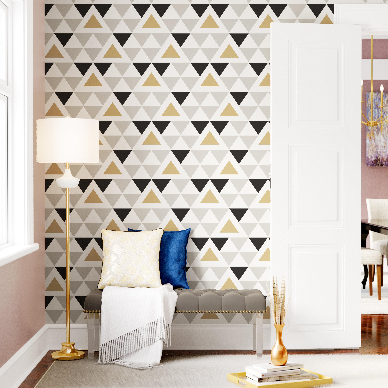 Mercer41 Rodden Triangle 16 5 L X 20 W Geometric And Stick Wallpaper Roll Reviews Wayfair