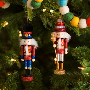 2 piece king and soldier nutcracker ornament set - Nutcracker Christmas Decorations