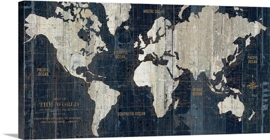 Great Big Canvas Old World Map Blue Graphic Art Print Reviews - Old world map wall art in blue