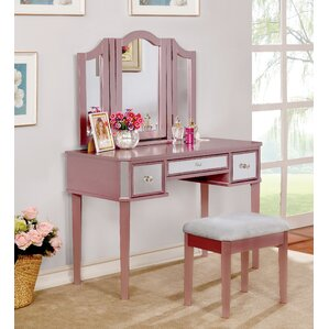 Vivien Transitional Vanity Set With Mirror