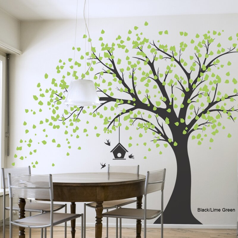 Wallums Wall Decor Large Windy Tree with Birdhouse Wall Decal ...