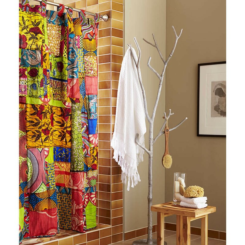 Vivaterra Fabric African Print Patchwork Shower Curtain