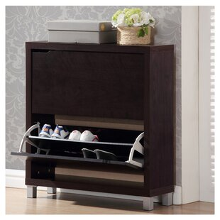 12 Pair Espresso Shoe Storage Cabinet