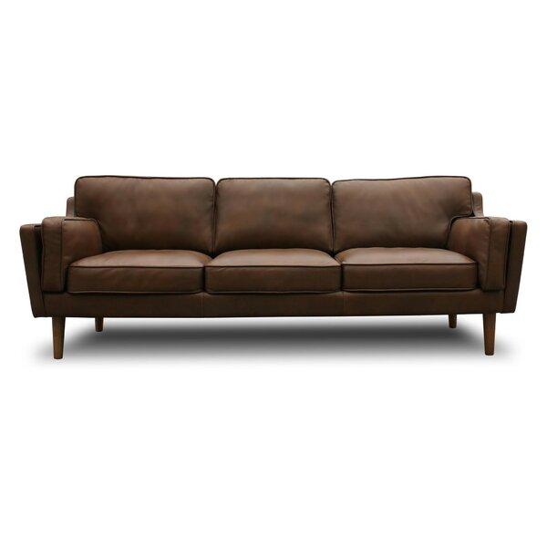 Perfect Union Rustic Kaufman Mid Century Modern Leather Sofa U0026 Reviews | Wayfair