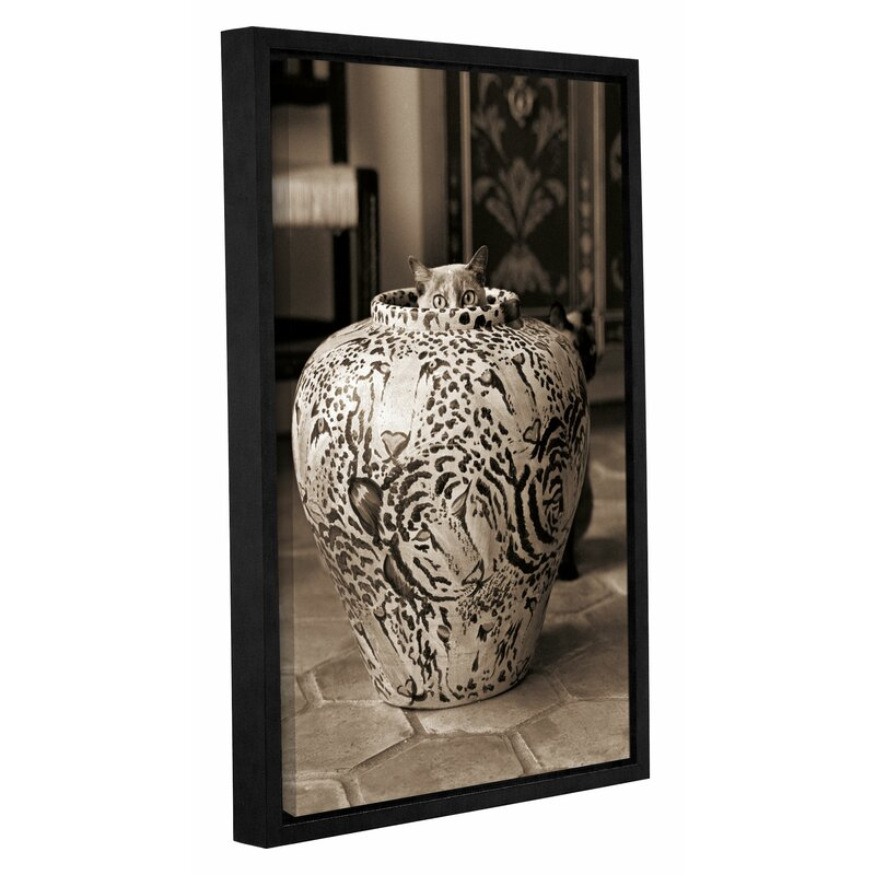 Latitude Run Cat In Vase Sepia Framed Photographic Print On Wrapped