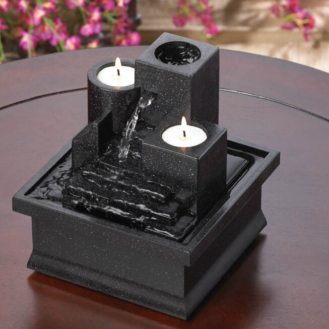 Acrylic Temple Steps Polyresin Tabletop Fountain With Light