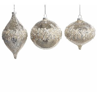 mercury glass shaped ornament set of 6 - Mercury Glass Christmas Decorations