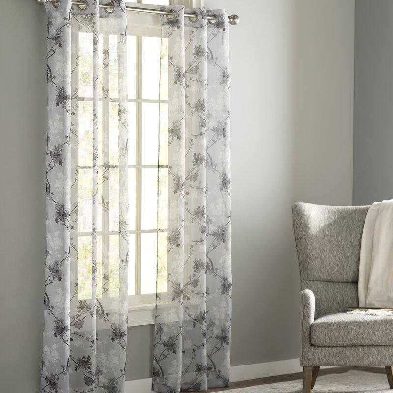 Winston Porter Cortney Nature/Floral Sheer Grommet Curtain