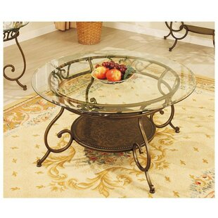 Canipe Metal Frame Coffee Table With Round Glass Top