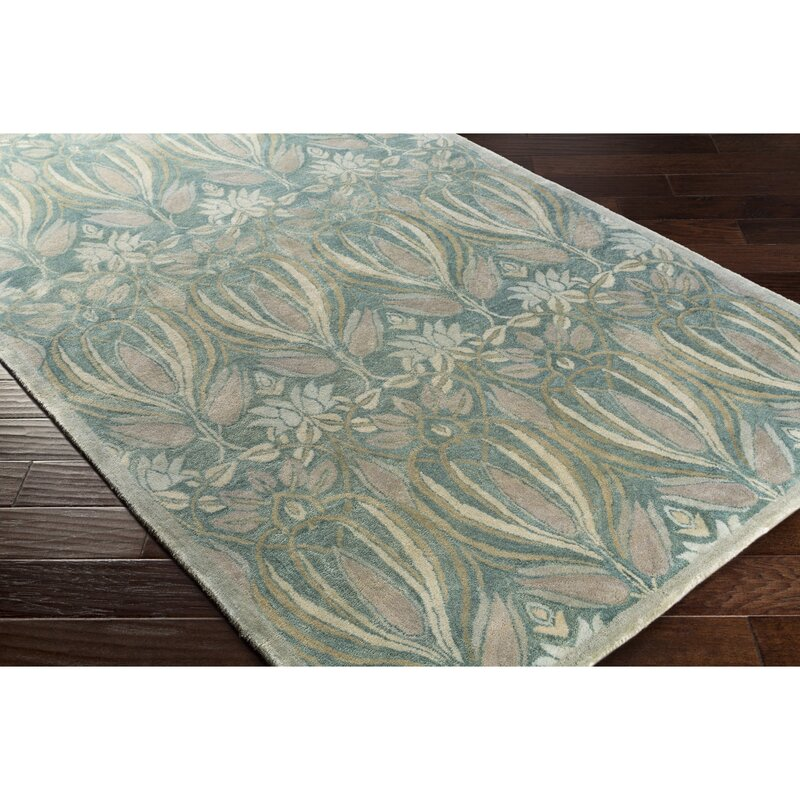 Alcott Hill Acton Hand-Knotted Teal Area Rug, Size: Rectangle 8 x 10