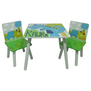 RAWRR Childrenu0027s 3 Piece Square Table And Chair Set