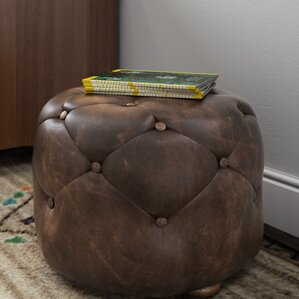 Canard Leather Ottoman by Loon Peak