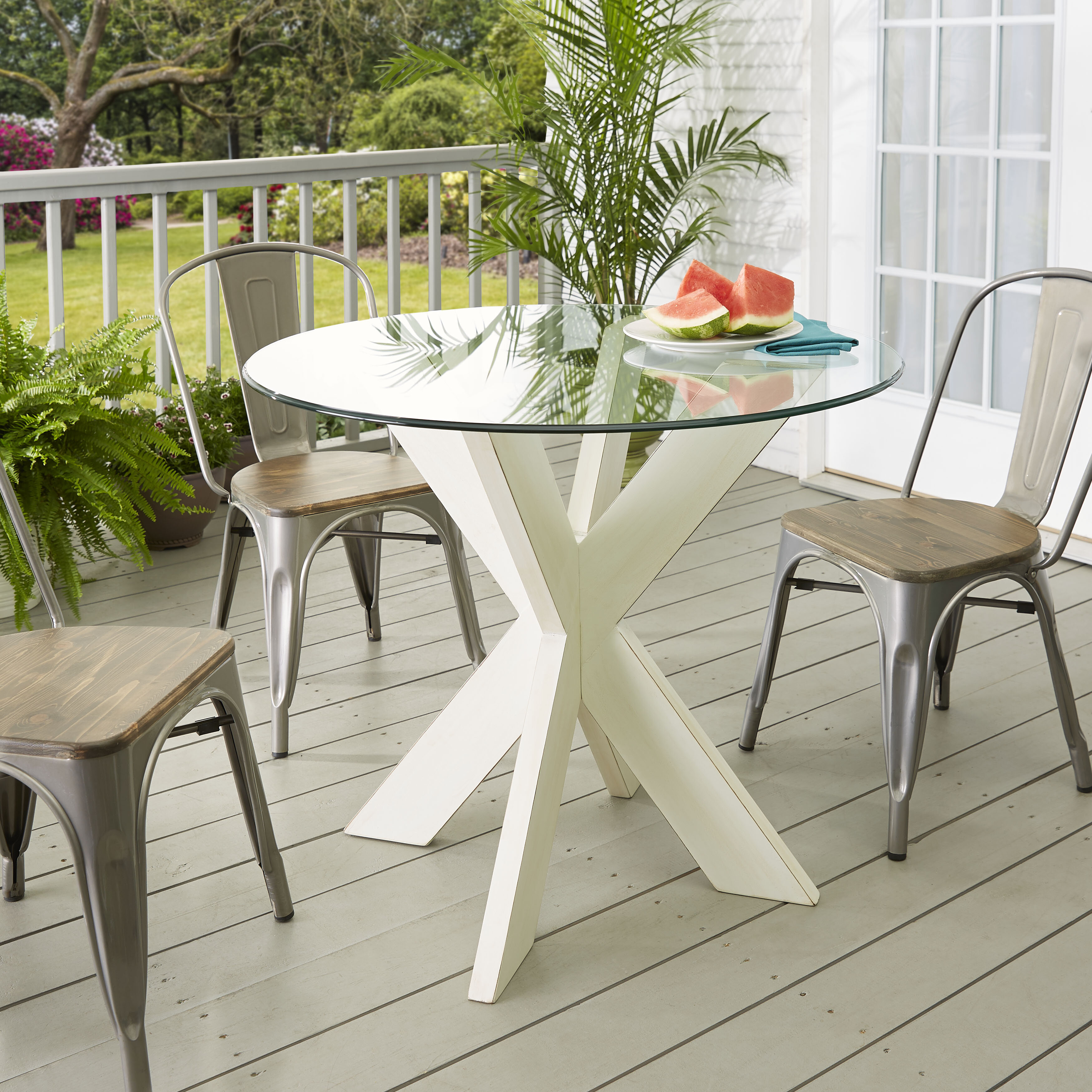 Barney X Base Solid Wood Dining Table