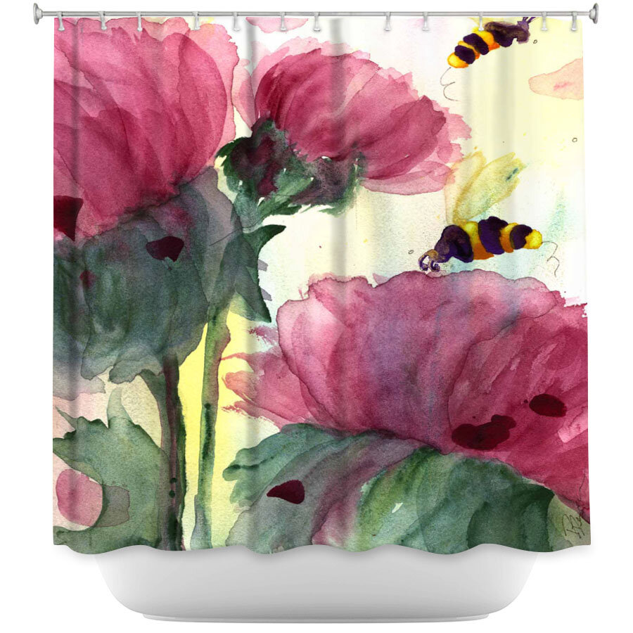 East Urban Home Bees In The Wildflowers Shower Curtain