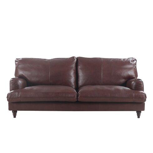 Attractive Auberto Classic Victorian Top Grain Leather Sofa