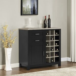 Contemporary Bar Furniture Callowhill Cabinet With Wine Storage Intended Impressive Design