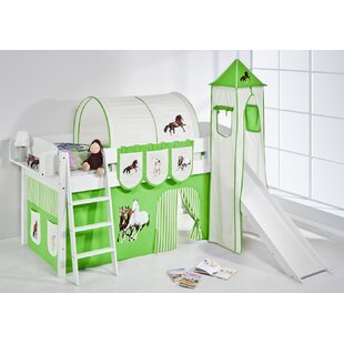 Horses European Single Mid Sleeper Bed with Textile Set by Just Kids