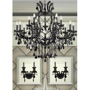 Chandelier wall sconce wayfair keeler 3 piece crystal chandelier and wall sconce set aloadofball Image collections