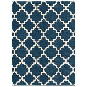 Radtke Scalloped Lattice Blue/Ivory Area Rug