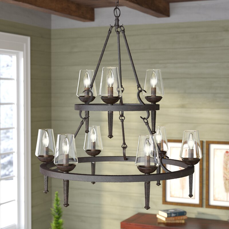 Wayfair Dining Room Lighting: Loon Peak Rock Springs 9-Light Candle-Style Chandelier