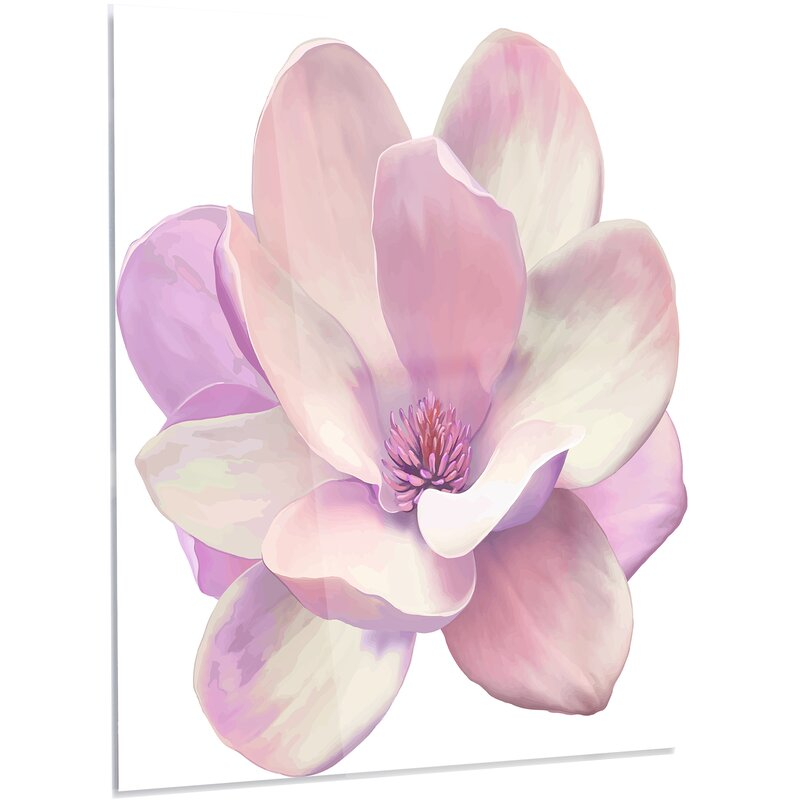 Designart cute light pink magnolia flower led painting print on cute light pink magnolia flower led painting print on metal mightylinksfo