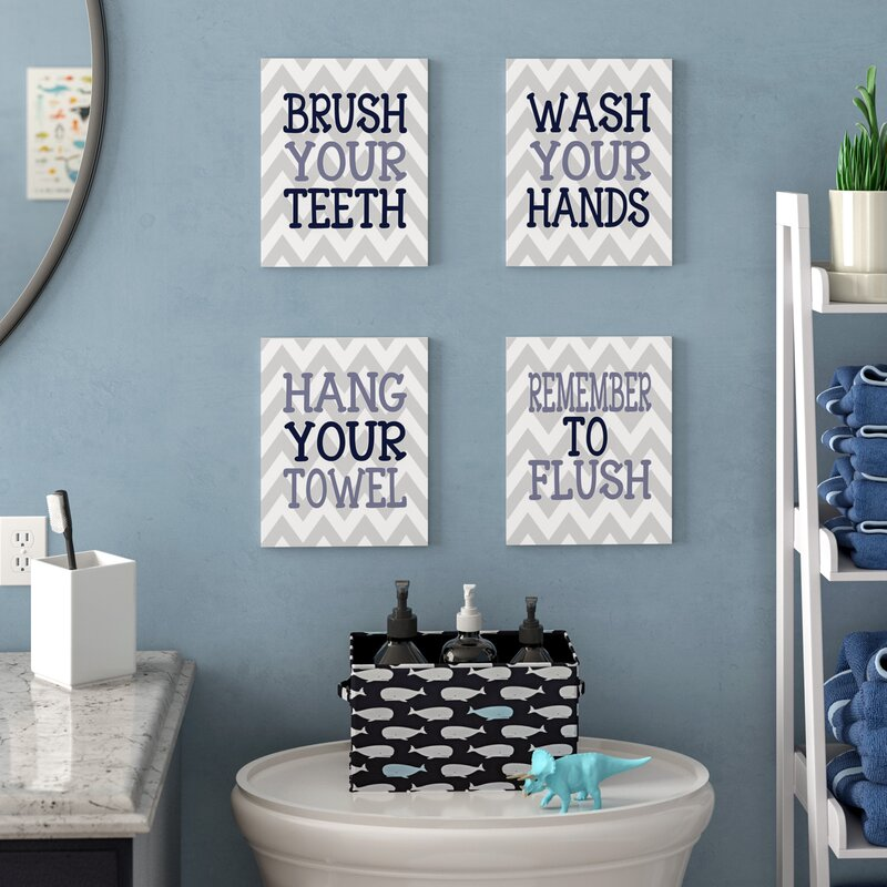 'Pierce Chevron Bathroom Rules' 4 Piece Textual Art Wall Plaque Set. '
