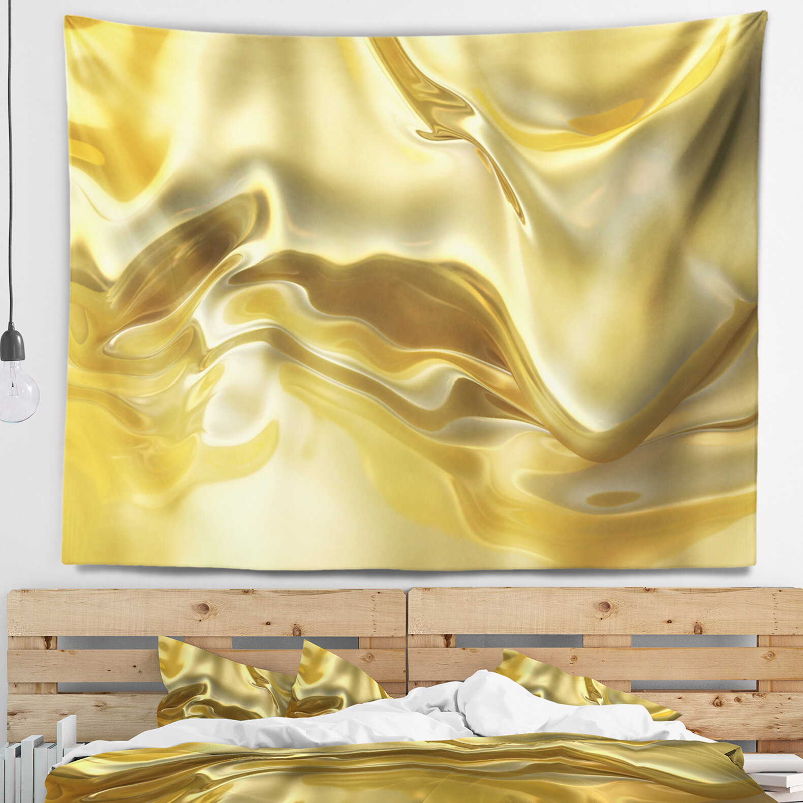 East Urban Home Abstract Golden Cloth Texture Tapestry and Wall ...