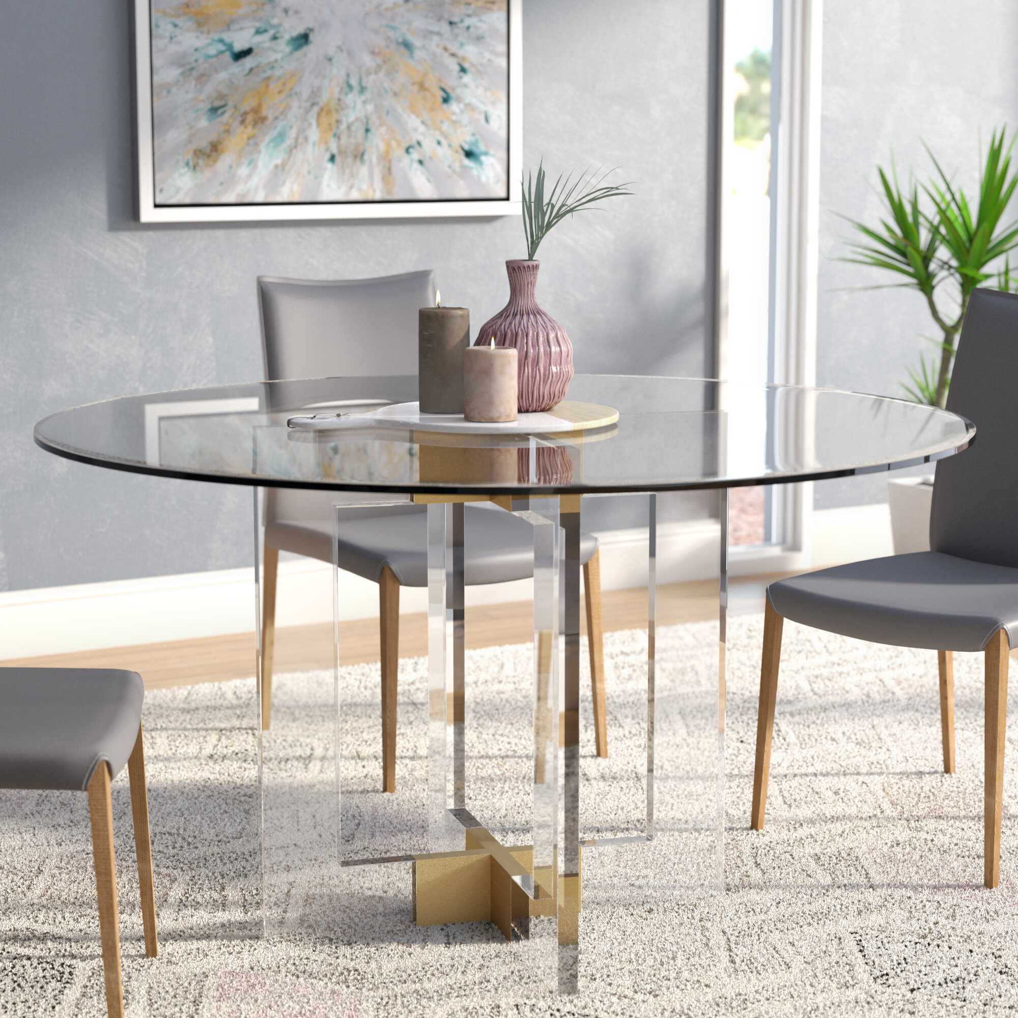 Willa arlo interiors gosta round glass dining table wayfair